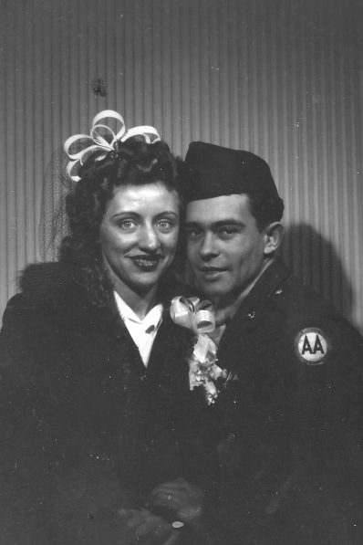 PVT Julio M. Carattini, II and his bride, Violet M. Kows, January 21,1944. Violet assembled torpedos while Julio II served his country