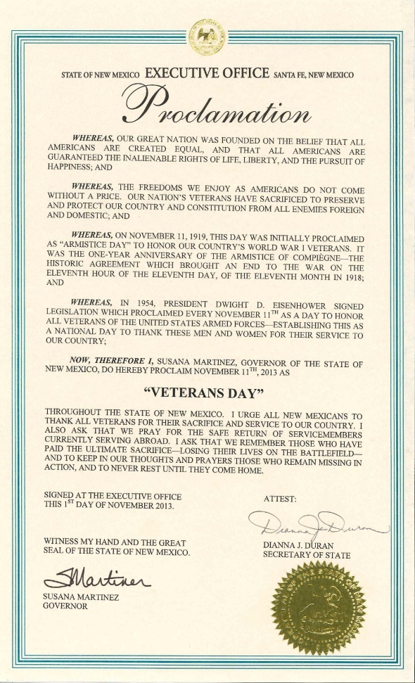 2013 Veterans  Day Proclamation-1