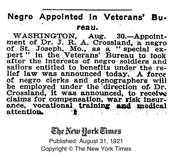 1921_DrJRACrossland appointed special expert for VB_NYT98725371
