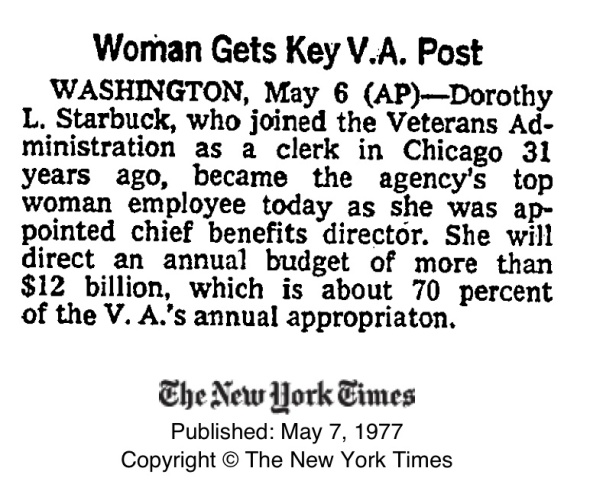 1977_Dorothy Starbuck_Apptd Chief Benefits Director_NYT75072820