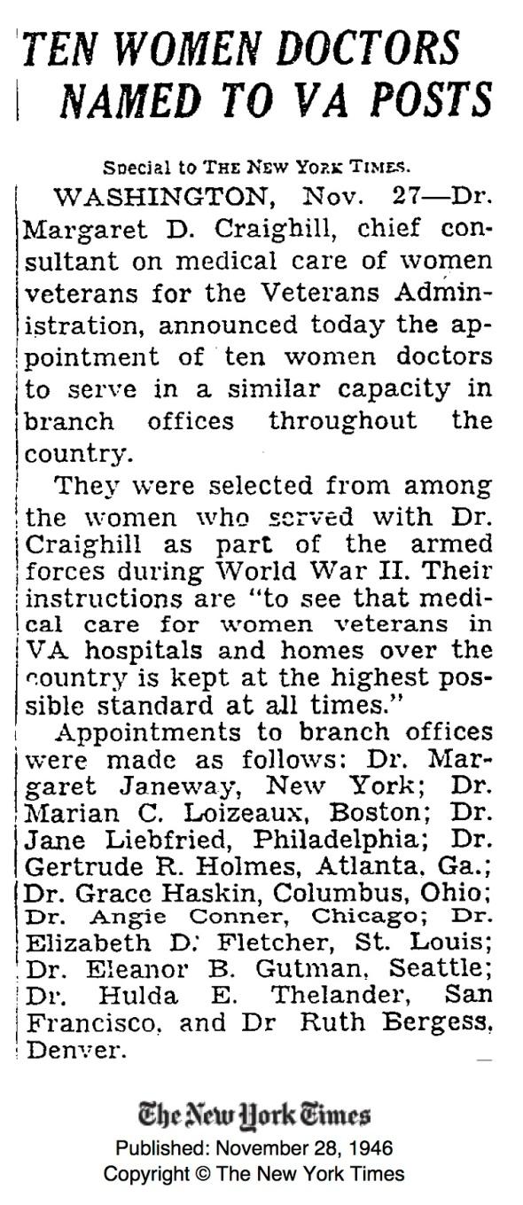 1946_10 Women Doctors Named to VA Posts_NYT93188103