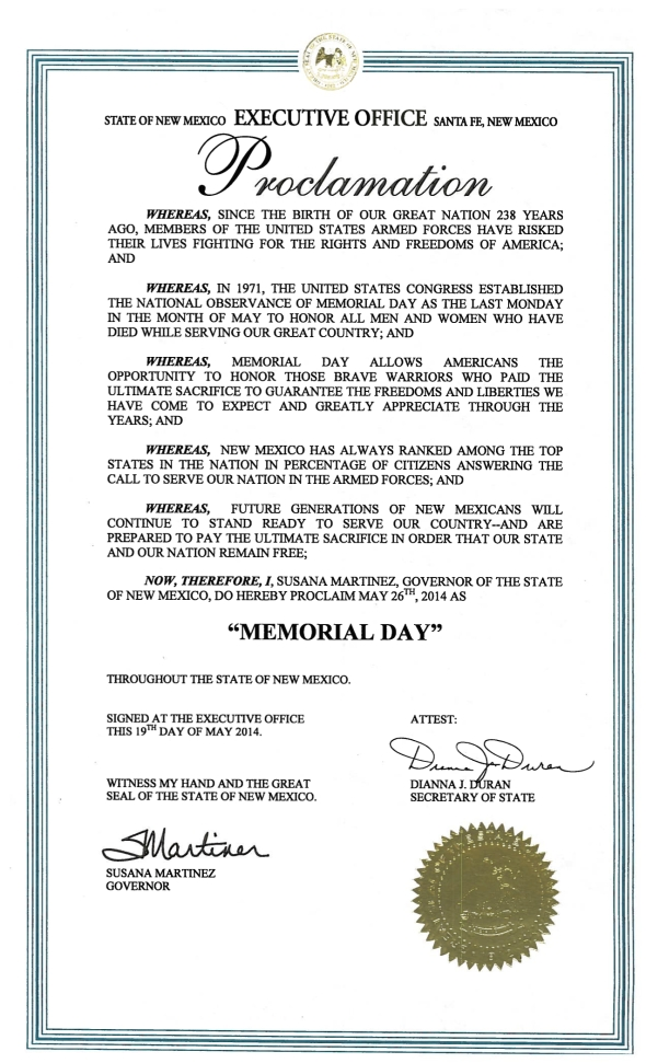 2014 MEMORIAL DAY PROCLAMATION