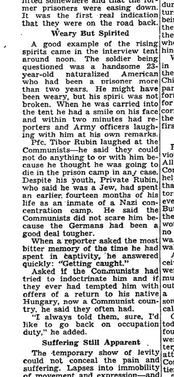 1953_04_22_Tibor Rubin quoted as he and other KW prisoners released_NYT-Wednesday_p3