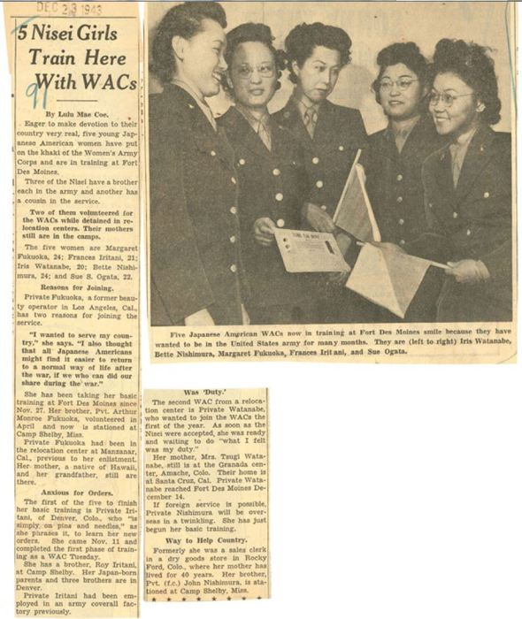 1943_12_23_First 5 Nisei WACs_article_MorningRegister-DesMoinesIA_uiowa-edu