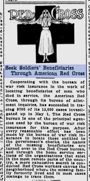 1919_06_17_Red Cross to help find beneficiaries_TheSpokesman-Reviewp4